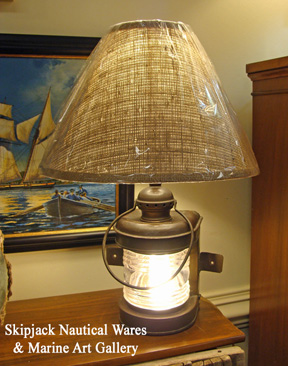 Early 20th century brass marine bow light re-purposed in to a table lamp