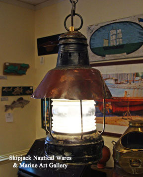 Authentic painted metal hanging marine anchor lantern with applied copper shade, nautical lighting