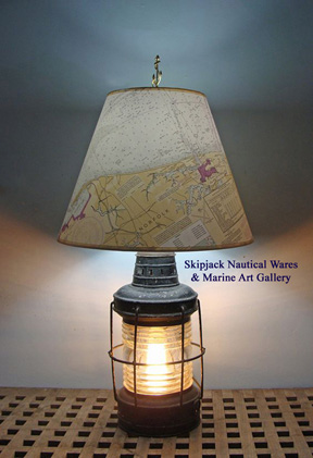Authentic early 20th century anchor lantern re-purposed in to a table lamp.