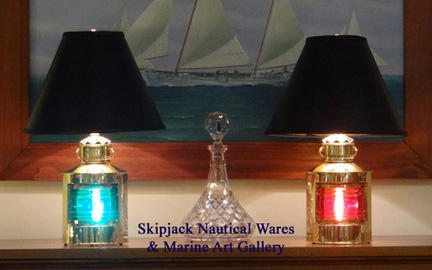 New high-quality port and starboard brass nautical table lamps