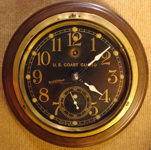 Seth Thomas U. S. Coast Guard Pilot House Clock, c. 1920