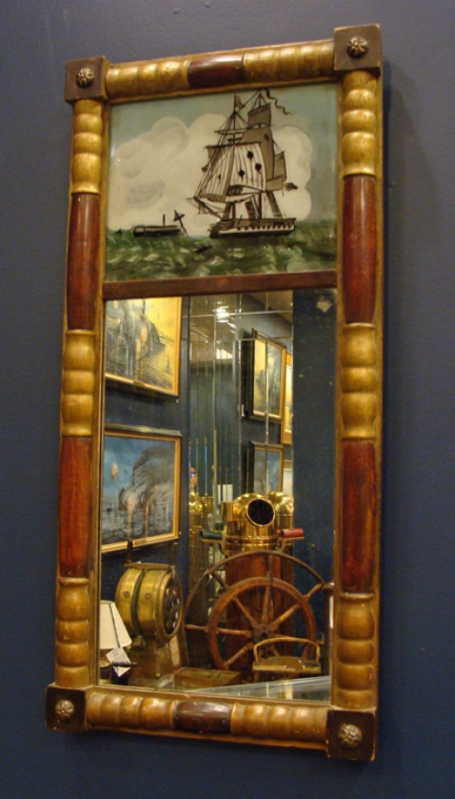 "Eglomise Mirror with Painting of the USS ""Constitution"""
