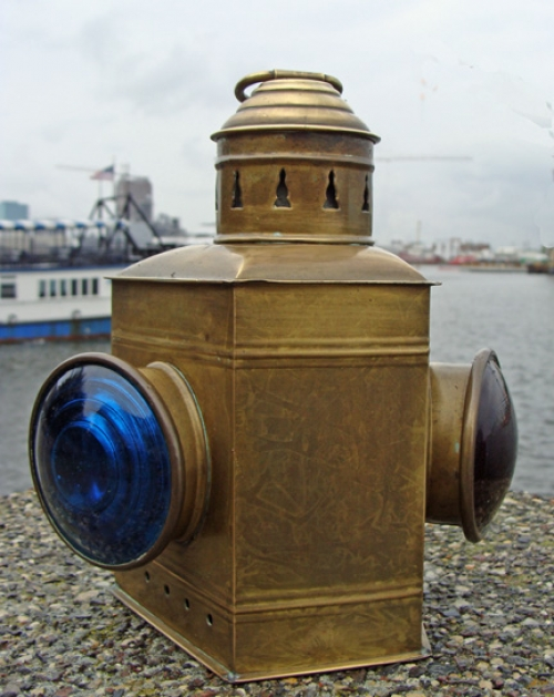Early 20th Century Brass Port and Starboard Small Boat Running Light