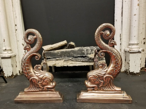 Brass Dolphin Fireplace Andirons
