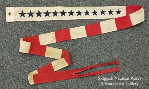"RARE: US Coast Guard Commissioning Pennant, 113"" (antique)"