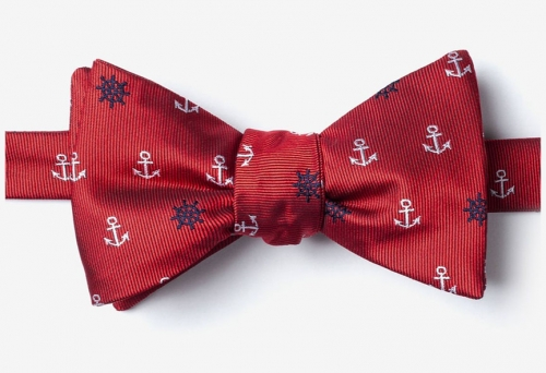 Anchors & Wheels Red Self Tie Bow Tie -- Men's Nautical Neckwear (microfiber)