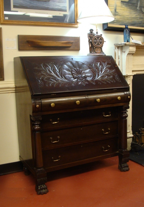 American Mahogany Classical Style Slant Front Desk With Carved Scallop Shell Front