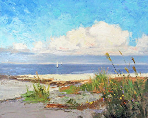 """Bright Beach Day"" original oil painting by Sandy Nelson"