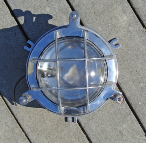 "Cast Aluminum Marine ""Clamshell"" Light with Guard (new)"