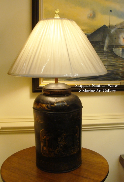19th Century Tole Tea Canister Table Lamp