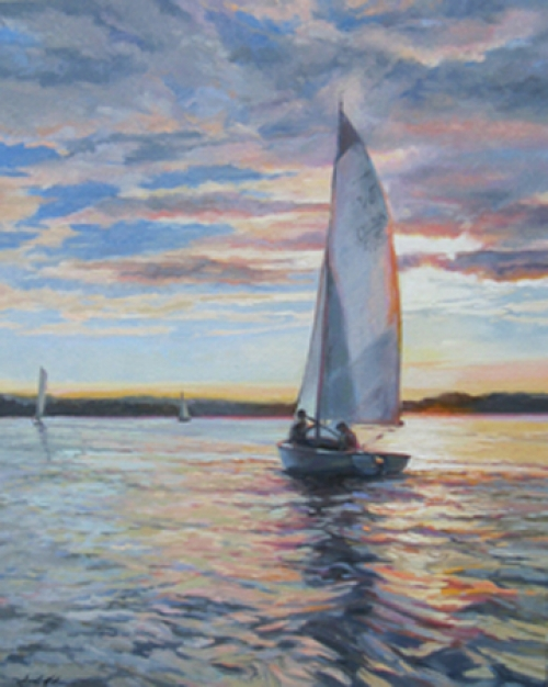 """Evening Sail"" original oil painting by Sandy Nelson"