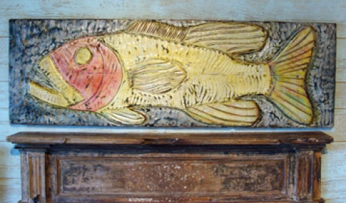 Folk Fish Grouper carved and painted folk art by Joe Marinelli