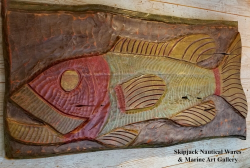 Giant Grouper Folky Fish Carving by Joe Marinelli