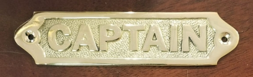 """CAPTAIN"" brass plaque, 6"" (new)"