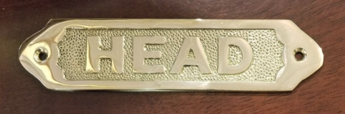 """HEAD"" brass sign plaque, 6"" (new)"