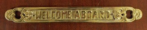 """WELCOME ABOARD"" brass sign plaque, 11-1/2"" (new)"