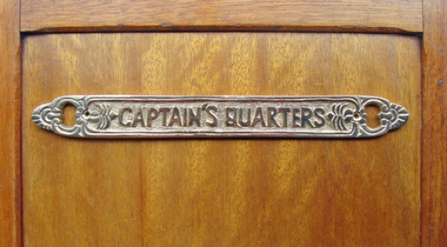 """Captain's Quarters"" brass sign plaque, 12-1/2"" (new)"