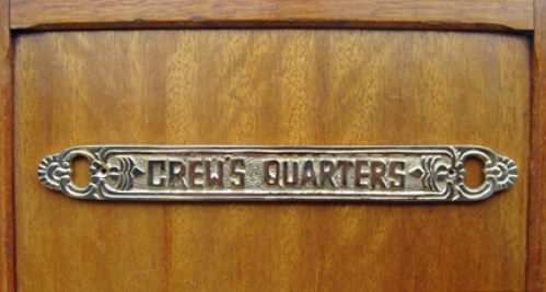 """Crew's Quarters"" brass sign plaque, 12-1/2"" (new)"
