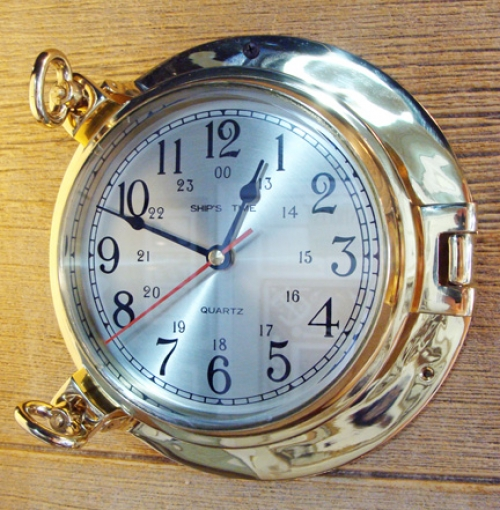 Nautical Brass Porthole Quartz  Wall Clock (new)