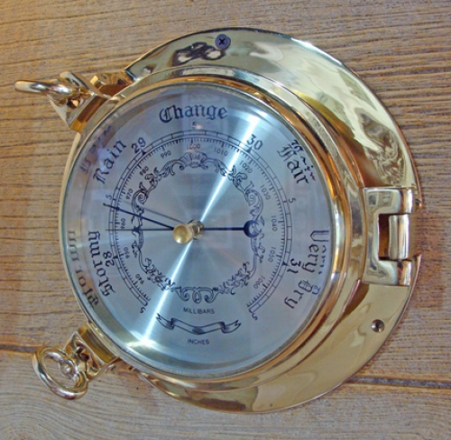 Nautical Brass Porthole Wall Barometer (new)