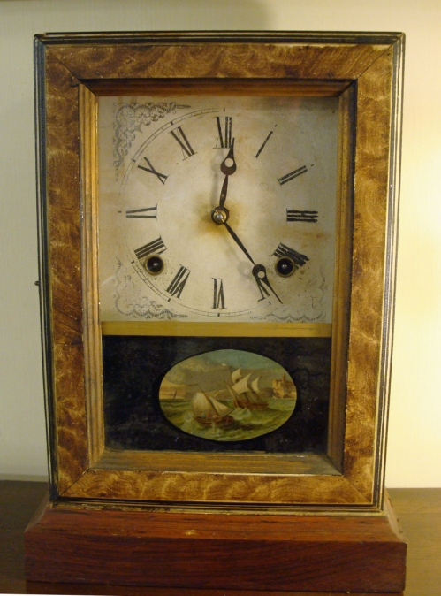 Ingraham Mantel Clock with Reverse Painted Scene of Dutch Ships