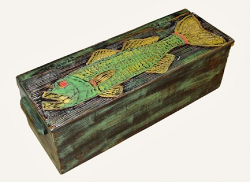 Folky Fish Chest carved folk art by Joe Marinelli