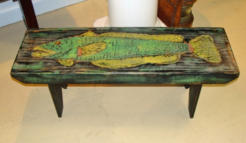 Folky Fish Bench carved and painted folk art by Joe Marinelli