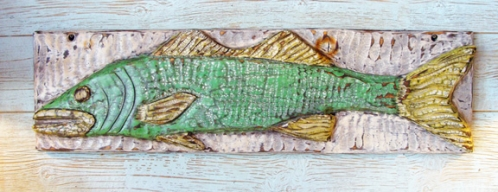 Relief Carved Wood Folk Fish Sign by Joe Marinelli