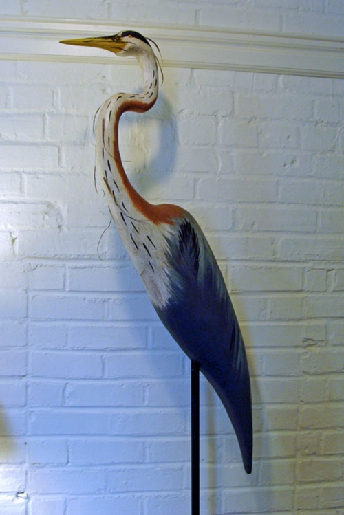 """Great Blue Heron"" folk art carving by J & P Johnson -- height 57"""