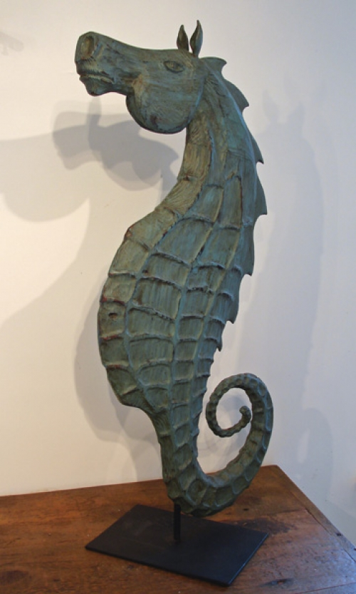 """Seahorse on Stand"" folk art carving by J & P Johnson -- height 36"""