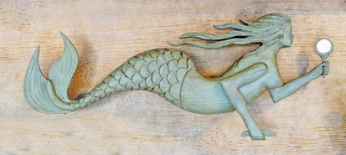 """Primitive Mermaid"" folk art carving by J & P Johnson -- length 33"""