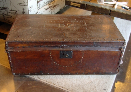 Leather Covered Military Officer's Chest