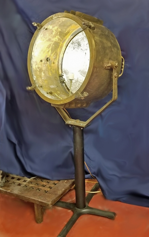 Authentic brass ship's searchlight on stand, glass diam. 20""