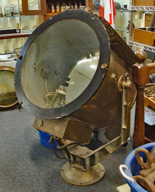 "Large Ship's Searchlight, c. 1950 , 23.5"" diam. glass"