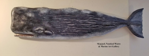 Large Carved Wood Sperm Whale by John Shaw
