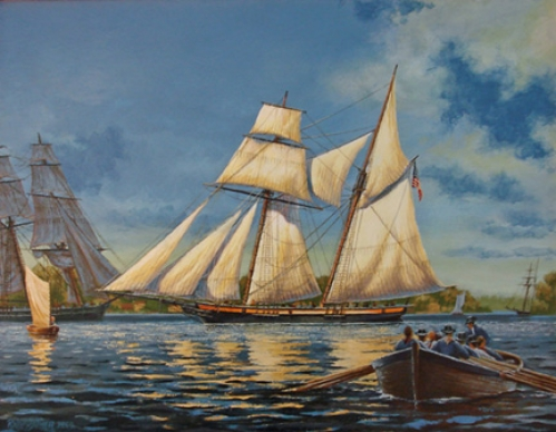 """Light Air on the Bay"" original oil painting by Peter Rindlisbacher"