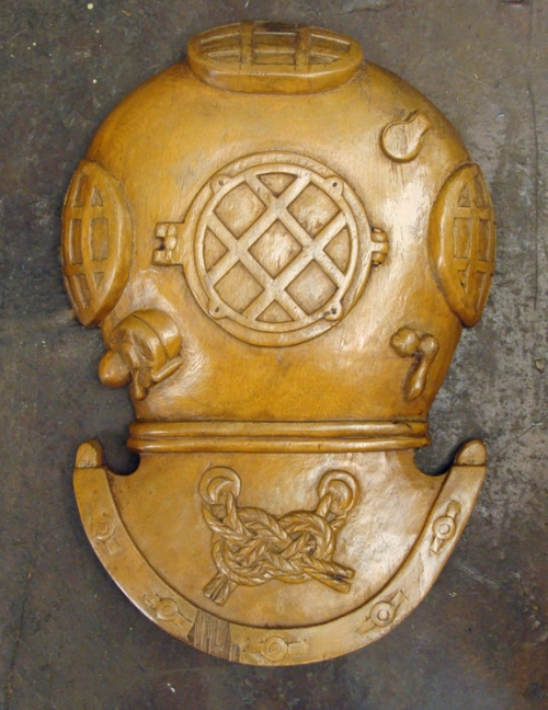 Carved Mahogany MKV Dive Helmet Wall Plaque