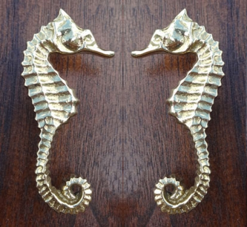 Brass Sea Horse Pull or Knob-PAIR (new)