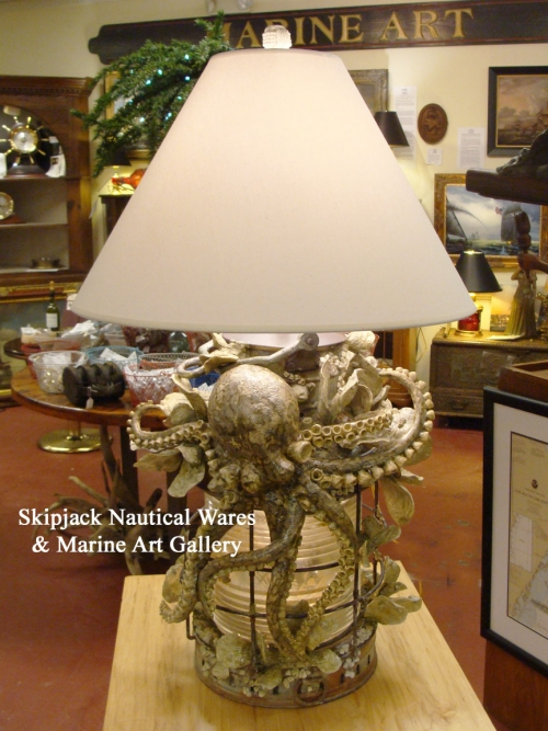 """On the Bottom of the Sea"" Original Marine Art Sculpture Table Lamp by Kevin Collins"