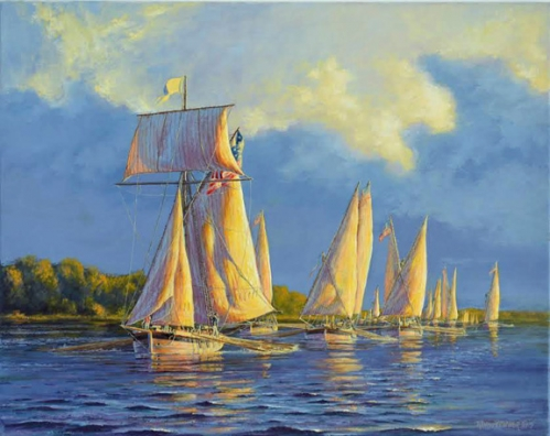 """Oars and Sails: The Chesapeake Flotilla at Dawn, 1814"" original oil painting by P. Rindlisbacher"