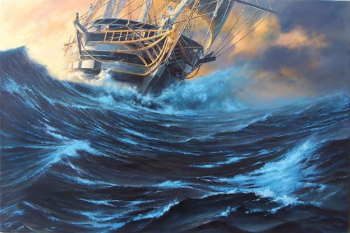 """Driving: USS Ohio at Sea, Circa 1838"" original oil painting by Peter Rindlisbacher"