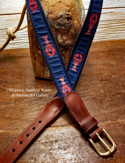 Lobster Ribbon Belt with Leather Tabs