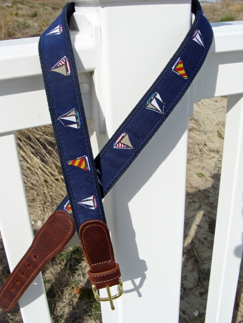 Sailboat Sailing Regatta Nautical Belt with Leather Tabs