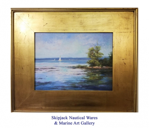 """Sailing the Bay"" original oil on panel by Sandy Nelson"