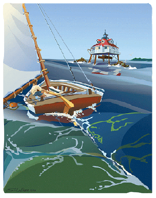 """Sailing to the Light on the Chesapeake Bay,"" Original Digital Serigraph Print by Sam LaFever"