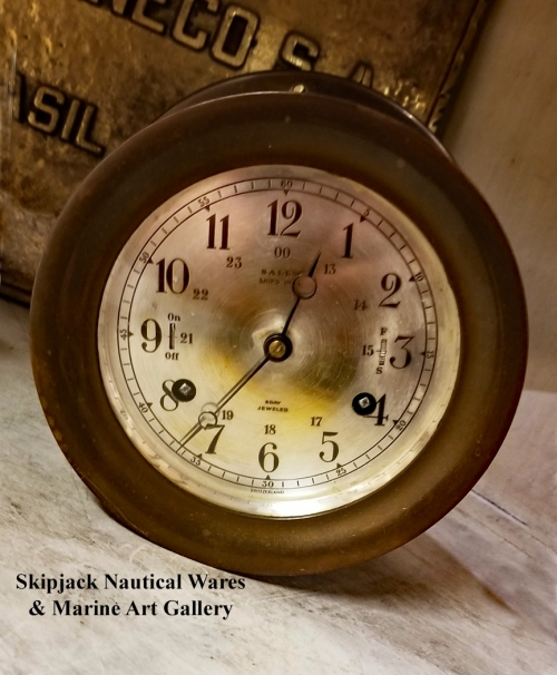 Vintage Ship's Bell Clock Manufactured by Salem Clock Co.