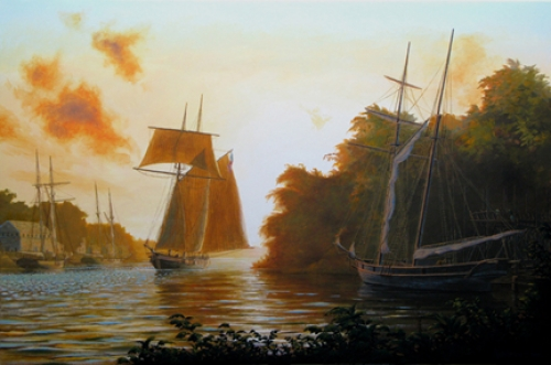"""Schooners at Dawn"" original oil painting by Peter Rindlisbacher"