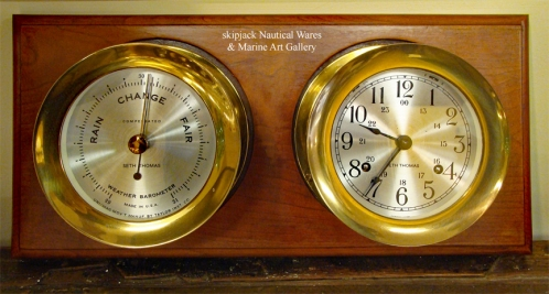 Seth Thomas Corsair Ship's Bell Clock & Barometer