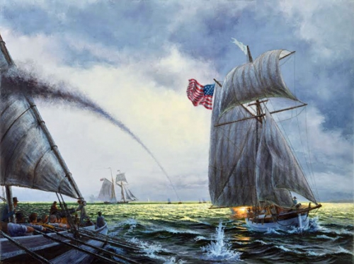 """U.S. Gunboat Scorpion in the Battle of Cedar Point, 1814"" original oil painting Peter Rindlisbacher"