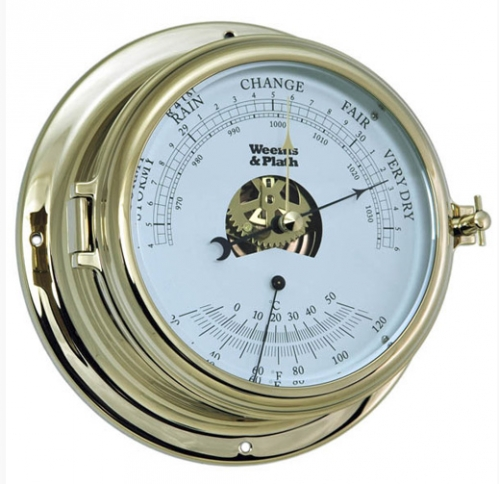 Open Dial Brass Barometer/Thermometer (new)